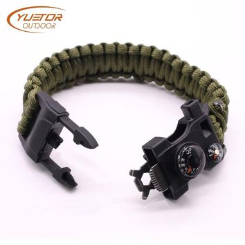 YUETOR OUTDOOR 12 in 1 Multi-function Paracord Survival Bracelet Whistle Military Camping Emergency Rescue EDC Tactical Bracelet