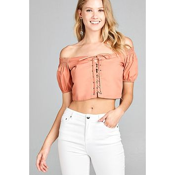 Apricot Off the Shoulder Lace Up Crop Top