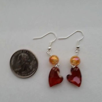 Red magma swarovski heart earrings, swarovski heart earrings, red heart earrings, dangly earrings, made in USA, hypo-allergenic