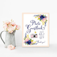 Photo booth guest book sign printable, Wedding photobooth guestbook sign, Photo booth sign, Navy blue floral, Instant photo guest book sign