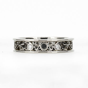 Ready to ship size 7.5, Black and white diamond filigree ring, black wedding ring, white gold engagement, gothic, unique, diamond engagement