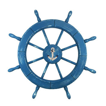 Wooden Anchor Rustic Light Blue Decorative Ship Wheel 30""