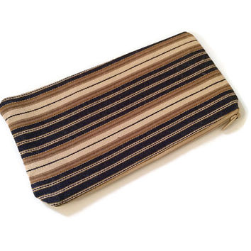 Brown Zip Pouch - Striped Pencil Case - Small Cosmetic Bag - Makeup Bag - Teachers Gift - Brown Zip Wallet  -  Gift For Her - Back to School
