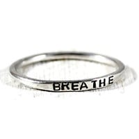 Breathe Personalized Sterling Skinny Stacking Ring. Silver Womens Engraved Band. Hand Stamped Stacking Silver Ring.Minimal Jewelry GSminimal