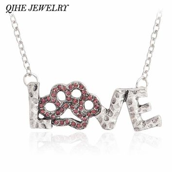 QIHE JEWELRY Pink rhinestone love paw print necklace Pet memorial jewelry Necklace for dog lover cat lover Animal pendant gifts