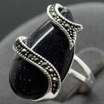Free shipping VINTAGE STERLING SILVER RING MARCASITE BLUE GOLDSTONE LUCKY RING SZ 7/8/9/10