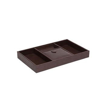 WOLF Blake 4 Compartment Valet Tray - Genuine Brown Lizard Leather