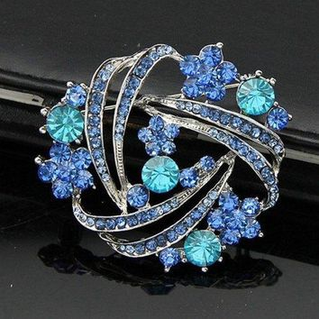 Rhinestoned Flower Leaf Hollow Out Brooch - Blue