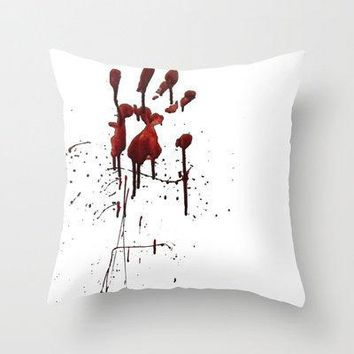 Zombie Attack Bloodprint   Halloween Throw Pillow By Nicklas Gustafsson | Society6