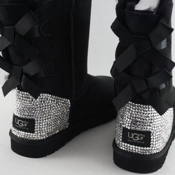 Custom UGG Boots made with Swarovski Bailey Bow Free: Shipping, Repair Kit, Cleaning K