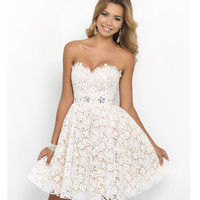 Ivory Strapless Sweetheart Lace Embellished Waist Dress