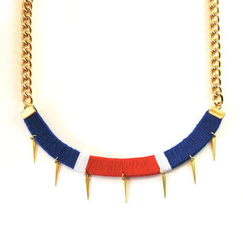 Spike statement necklace with bulky chain, navy necklace in red white and blue