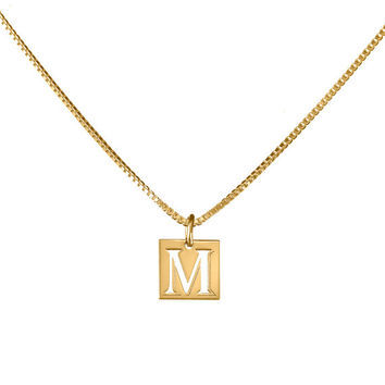 "Personalized necklace with 0.40"" square pendent - 24k gold plated"