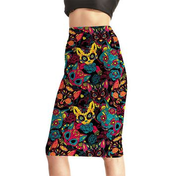 Popular Women Sexy High Waist Midi Skirts Tennis Bowling Skirts Slim Hip Cartoon Colorful Elastic S-4XL Female Party Apparel