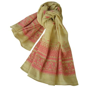 Embroidered Self Check Long Scarf: Summer-Fall : BUTTERSCOTCH
