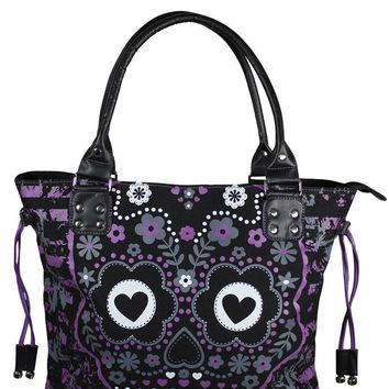 Banned Punk Rock Purple Candy Flower Sugar Skull Cotton Canvas Shoulder Bag