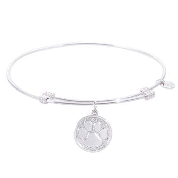 Sterling Silver Tranquil Bangle Bracelet With Pawprint Charm