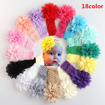 NEW Baby Girls Lace Headband Chiffon Flower Headband Infant Hair Weave Band kids Hair Accessories Christmas Gifts 16color Stock