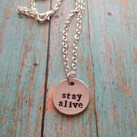 Twenty One Pilots Stay Alive Hand Stamped Necklace