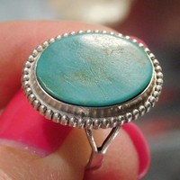 Turquoise Ring Sterling Silver Native American Classic Oval Turquoise Cabochon Split Hand Chiseled Shank Artisan Hand Crafted Made Jewelry