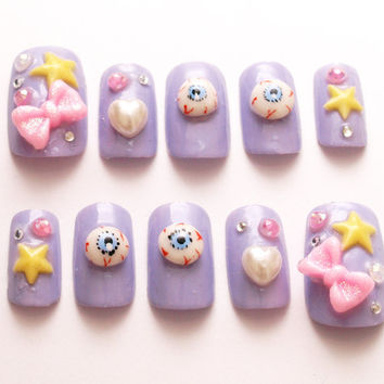 Pastel goth, creepy kawaii, 3D nails, star, bows, nail set, harajuku, Japanese fashion, eyeballs, kyary, fake nails