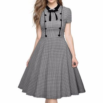 Oxiuly Women Gingham Polka Dot Houndstooth Print Black Turn-down Collar Vintage Party Fit and Flare Swing Skater A-Line Dress