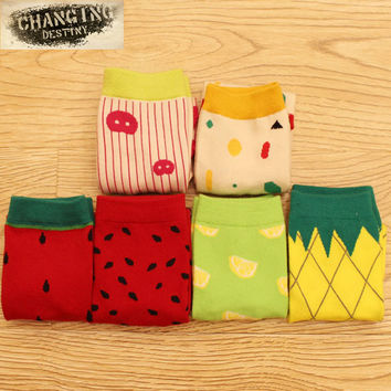 new 2015 hot Autumn-Winter women socks cotton brand Cartoon socks Girl Female Lady Socks high quality fruit sweet ladies socks