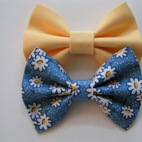 Yellow bow, baby bows, Bow clips, small fabric hair bows, daisies, hair bow, set of two