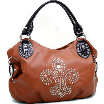 Croco Trim Fashion Hobo Bag w/ Rhinestone Studded Fleur de Lis Design - Brown Color: Brown