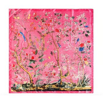 Birds in Paradise Floral Faux Silk Scarf in Joyous Pink