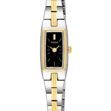Pulsar Ladies Stainless & Gold-Tone Watch with Black Face