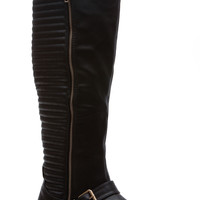Black Faux Leather Knee High Stitched Zipper Accent Boots