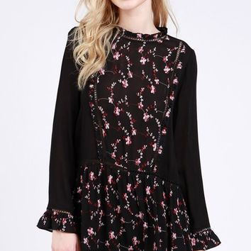 Peplum Embroidered Top - Black by POL Clothing