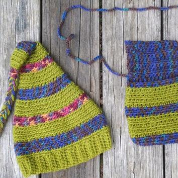 Elf Hat and Festival Purse - Phone Pouch - Crocheted Small Wool Purse Handmade by The Hippie Patch OOAK