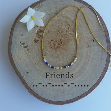 Friends Necklace Morse Code Secret Message.Dainty necklace.Minimalist Personalized.Morse code jewelry.gold plated silver plated necklace.BBF