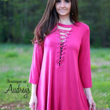 Fuchsia Dress or Tunic with Lace-up Neckline