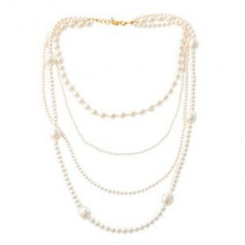 Multirow Necklace with Pearl Details