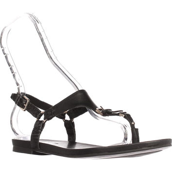 Aldo Joni Flat Thong Sandals, Black Leather, 6 US / 36 EU
