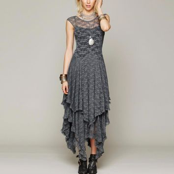 Elegant Asymmetrical Boho Sheer lace dress