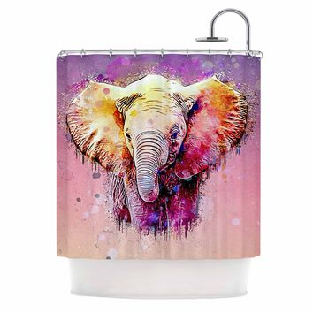 "Ancello ""Watercolor Elephant"" Purple Orange Digital Shower Curtain"