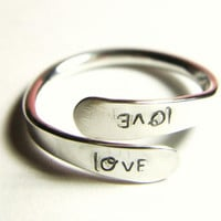Silver Love Wrap Ring Custom Name Word Special by YorkAvenueStudio