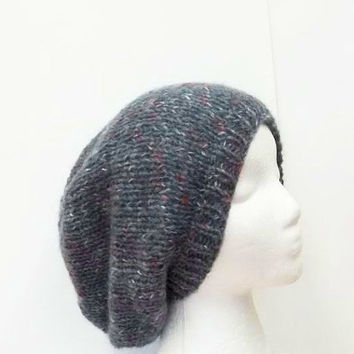 Oversized beanie hat hand knitted for men or women -  free shipping  -   5197