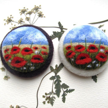 Felted landscapes Poppy flower brooch Needle felted brooch with embroidery Red jewelry Wool felt brooch Felted jewelry Gift ideas for her
