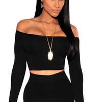 Chicloth Black Off-The-Shoulder Knit Crop Top