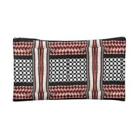 Red, White, & Black Geometric Print Makeup Bag