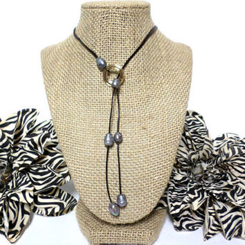 Grey Fresh Water Pearl Brown Genuine Leather Knotted Cord Gold Circle Disc Lariat Necklace, gift