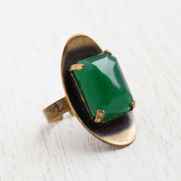 Vintage Green Stone Modernist Ring - Retro 1960s West Germany Adjustable Brass Jewelry / Emerald Cut Statement
