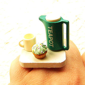 Kawaii Ring Food Teapot Cup Cupcake by SouZouCreations on Etsy