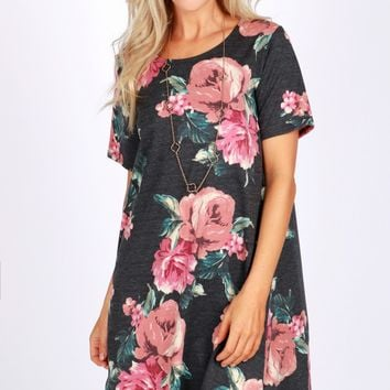 Short Sleeve Floral Print Dress Black