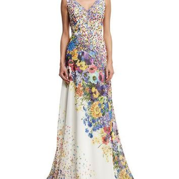 David Meister Sleeveless Floral-Print Gown